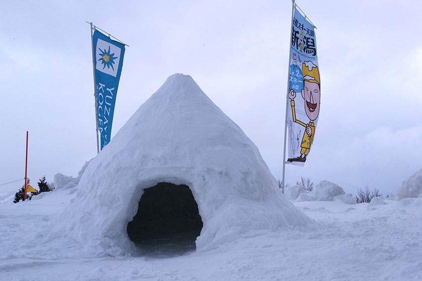 湯沢高原 天然雪でかまくら作り♪
